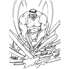 Hulk in Breaking Woods in Anger Coloring Sheet