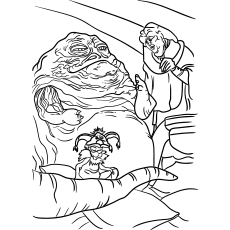 Jabba The Hutt Galaxy Powerful Gangsters Star Wars Jango Fett Picture Colouring Page