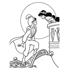 the jasmine with aladdin - Aladdin Jasmine Coloring Pages