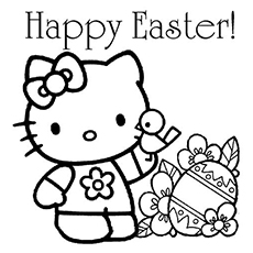 kitty wishing happy easter image to color