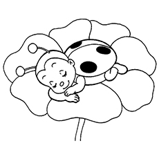 girl in ladybug outfit ladybug sleeping on flower coloring page