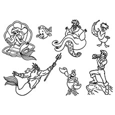 Little Mermaids Characters Picture Coloring Pages