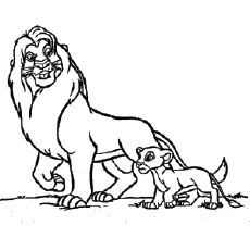 Coloring Pages of Mufasa Who is an Adult Male Lion