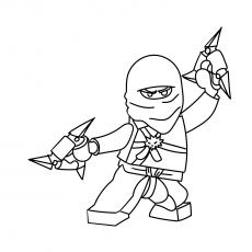the ninja warrior with meal triangular blades - Ninja Coloring Page