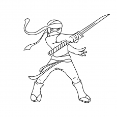 the ninja warrior with sword - Ninja Coloring Pages