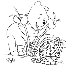 Pooh Looking for Honey on Easter to Color