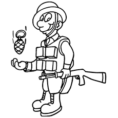 Solider Ready To Throw the Hand Grenade Coloring Pages