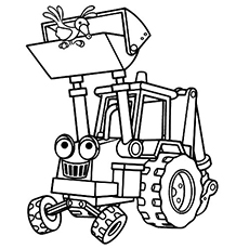 scoop digging machine coloring image