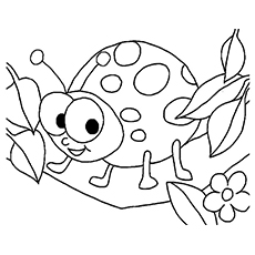 smiling ladybug ladybug with offspring coloring page