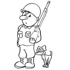 Soldier and his Dog Coloring Page