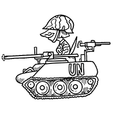 Soldier In A Tank Coloring Page To Print