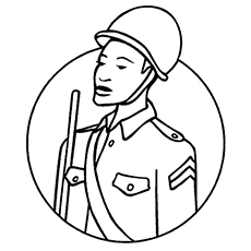 Soldier in Helm Coloring Page