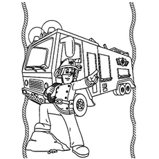 free printable colouring pages of fireman sam indicating about fire - Printable Colouring