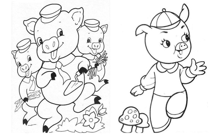 Three Little Pigs Drawing Three Little Pigs Coloring