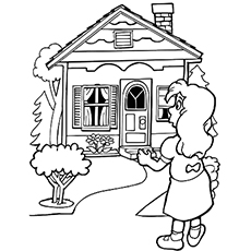 A full view of the House of Great Goldilocks and the Three Bears Coloring Pages