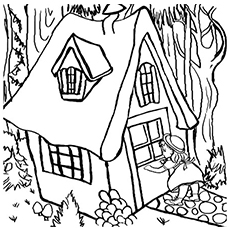 Goldilocks Entering The Bears Home Free Printable Coloring Page