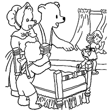 The Bears Discover Goldilocks Picture Entering Home Coloring Pages Free