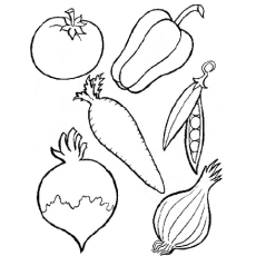 array of vegetables coloring page