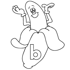 Coloring Sheet of Peeled B for Banana Coloring Page