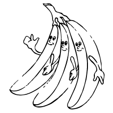 printable three banana friends coloring pages