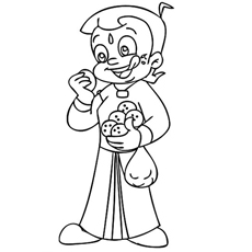 Chota Bheem the Ladoo Lover Coloring Page