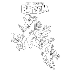 Chota Bheem And Friends Flying With Horse Entire Team Of Coloring Pages