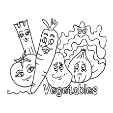 cartoon vegetable family pic to color - Vegetables Coloring Pages