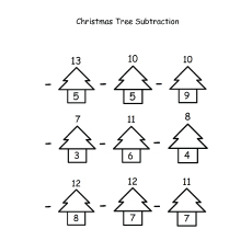 Christmas Tree Subtraction Coloring Pages