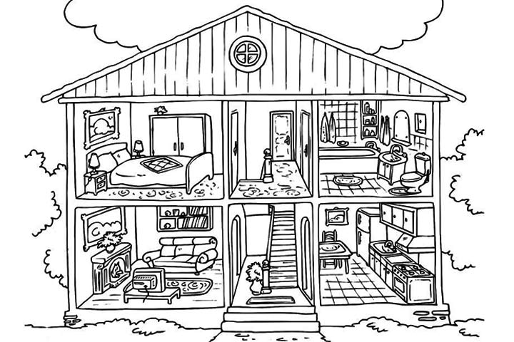 inside doll house coloring pages - Open House Coloring Pages