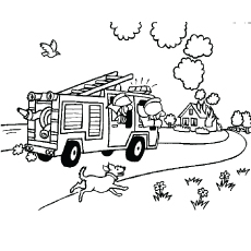 fireman on the way to house on fire coloring pages - Fire Safety Coloring Pages
