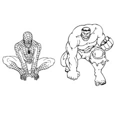 coloring page of hulk and spiderman in one frame - Coloring Pages Incredible Hulk