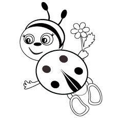 Cute and Lovely Insect Ladybug Coloring Page