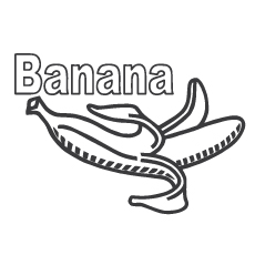 Peel One Black Opened Single Banana With Flowers Coloring Sheet