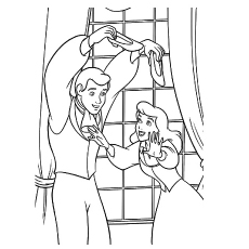 overjoyed prince playing with cinderella shoes coloring pages