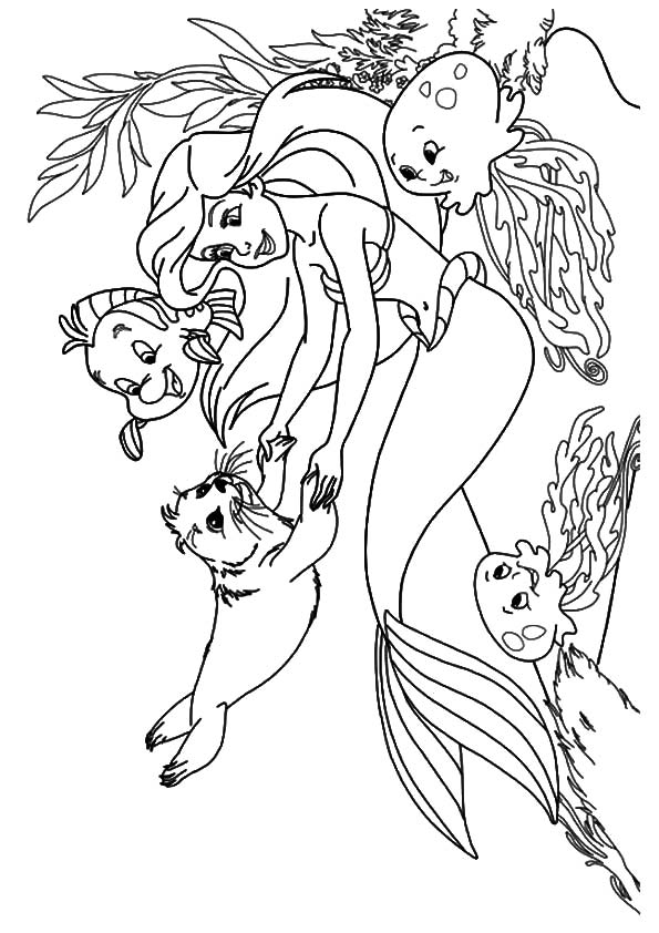 playing-with-animal-friends-little-mermaid