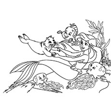 Playing With Animal Friends Little Mermaid Coloring Pages To Print