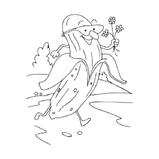 Banana with Flowers Coloring Sheet