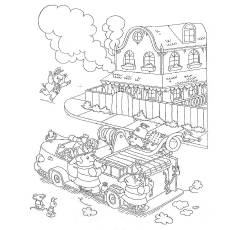 Richard Scarry Firefighter Coloring Page