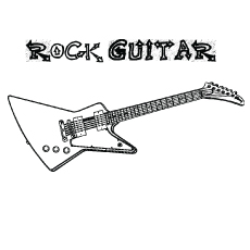 rock guitar coloring - Guitar Coloring Pages