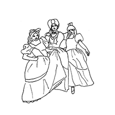 coloring page of stepmother and step sisters of cinderella