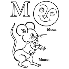the m for moon and mouse - Letter M Coloring Pages