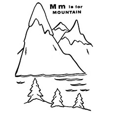 the m for mountain color page - Mountain Coloring Pages Printable
