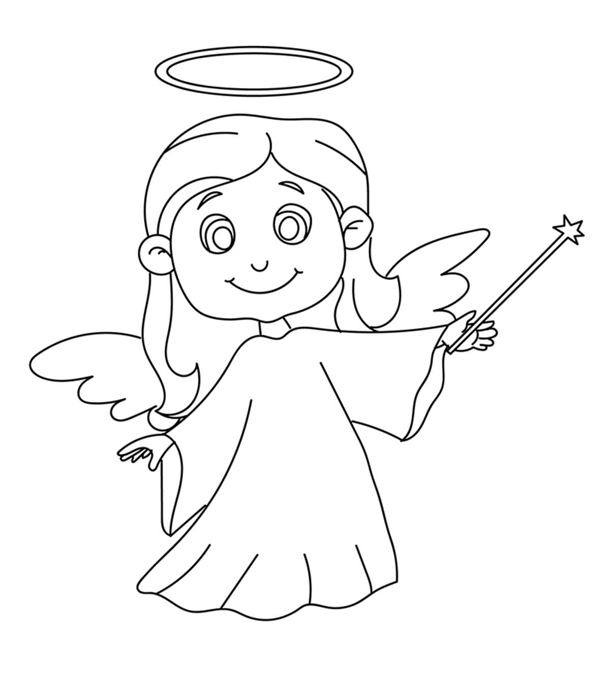 Top  Free Printable Cheerful Angel Coloring Pages Online