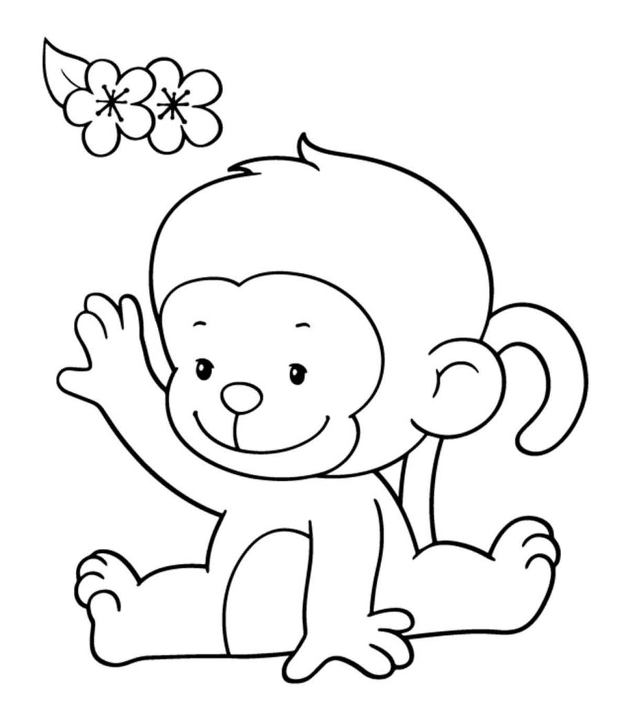 It's just an image of Unforgettable Cute Monkey Coloring Pages