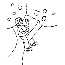 A Boy Sitting On Apple Tree Coloring Pages