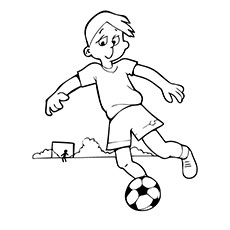 Boy Practicing the Soccer With a Ball Coloring Pages