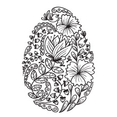 Floral Easter Egg Image to Color