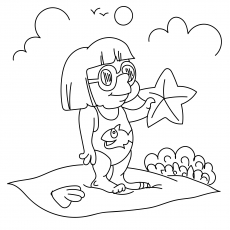 A Girl On The Beach With Starfish