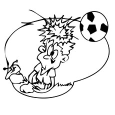 Boy Got Hit by Soccer Ball on Head Coloring Pages