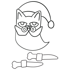 Coloring Sheet of Pete the Cat as Santa